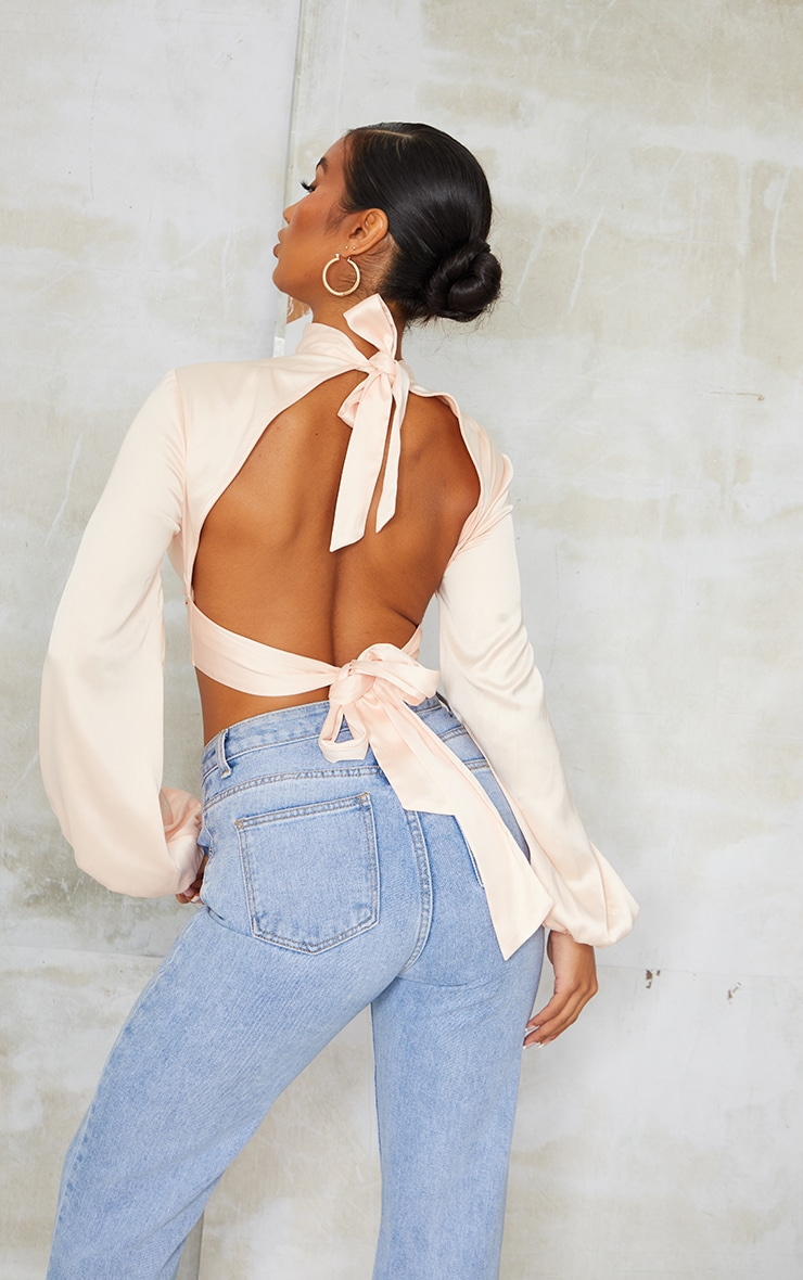 Champagne Satin High Neck Twist Front Backless Blouse 4