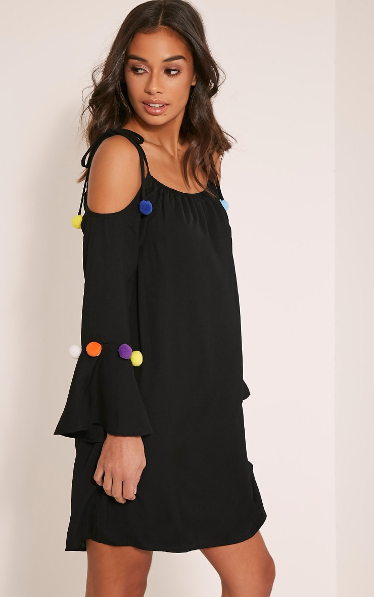 Erin Black Pom Pom Detail Swing Dress 4