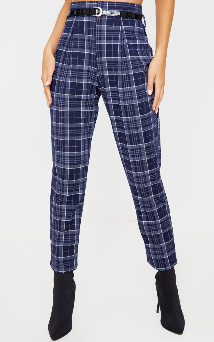 Navy Check Belted Skinny Pants 2