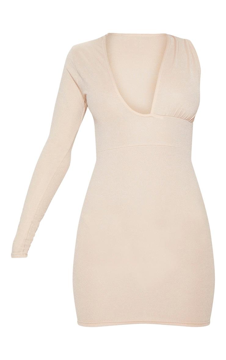 Stone Asymmetric Sleeve Extreme Plunge Bodycon Dress 3