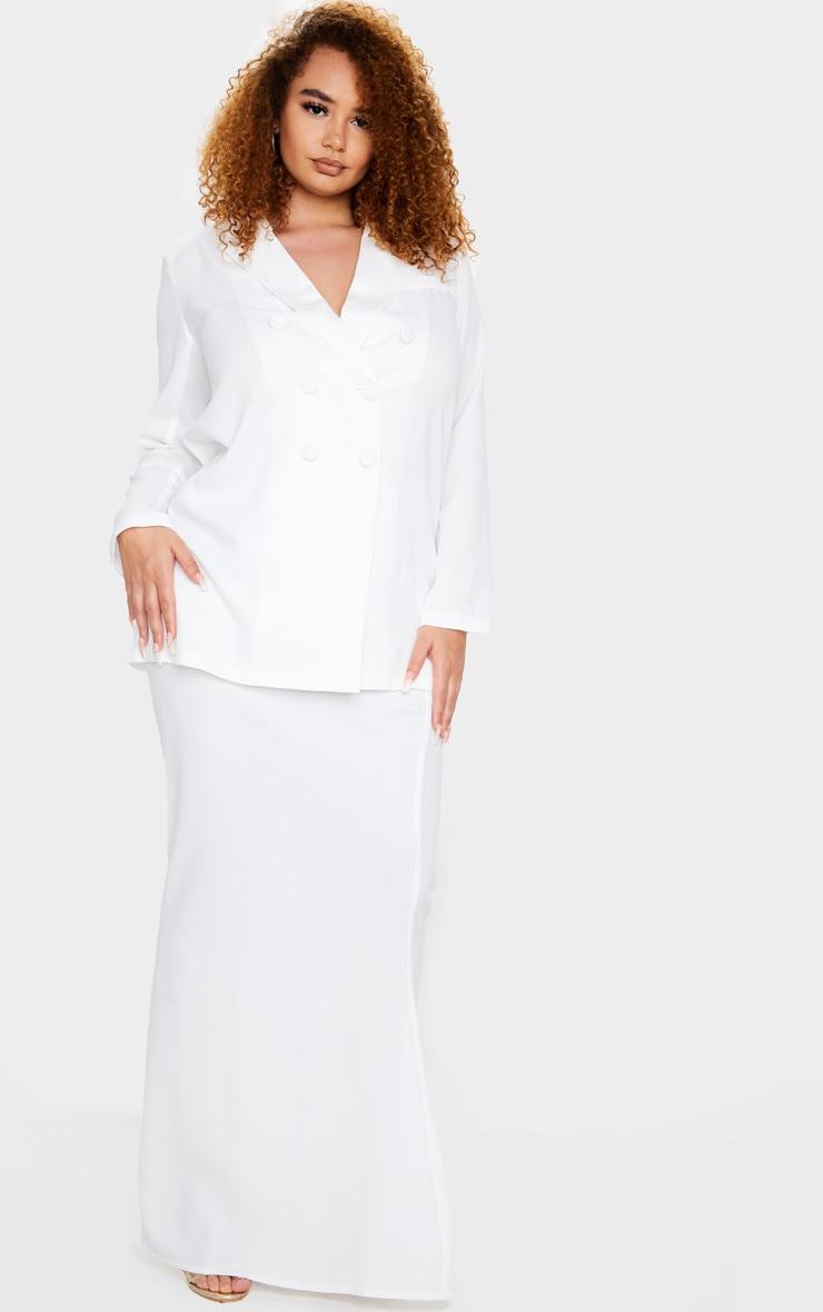 Plus Cream Woven Maxi Skirt 1