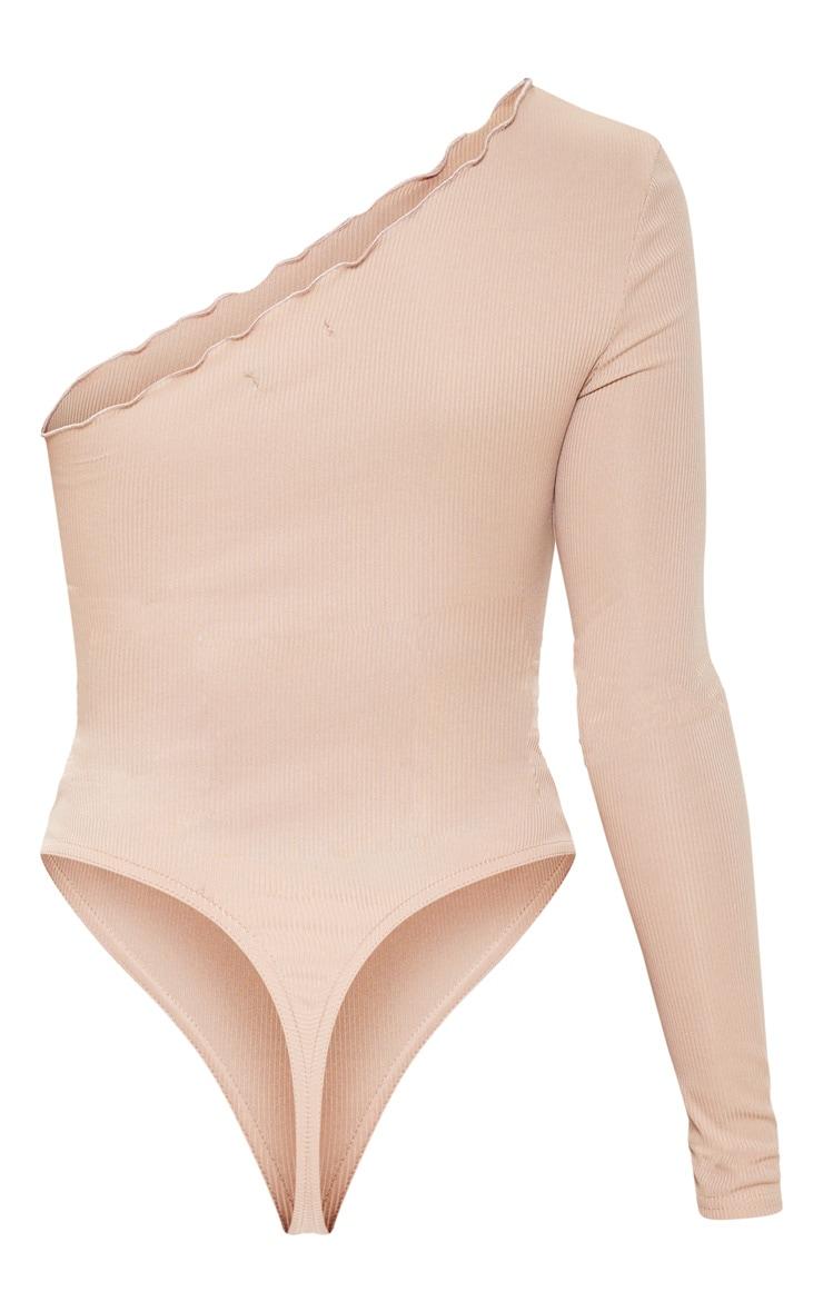 Sand Rib Frill One Shoulder Bodysuit 4