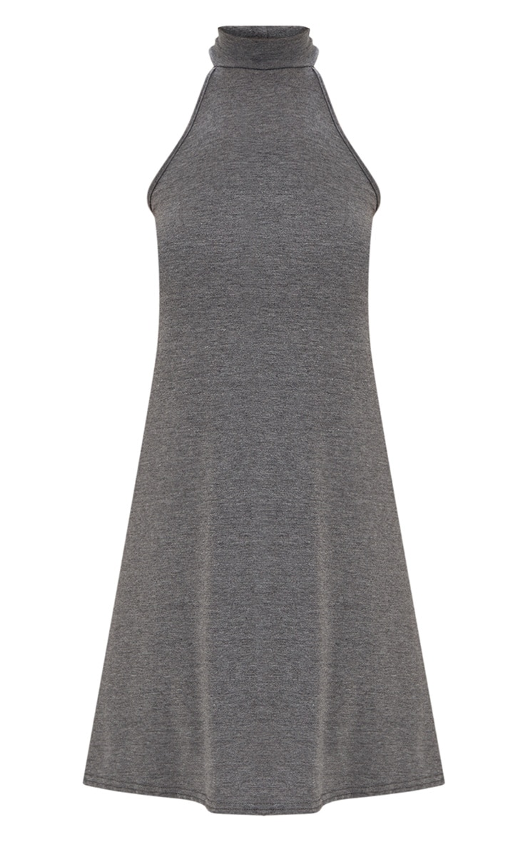 Charcoal Jersey High Neck Swing Dress 3