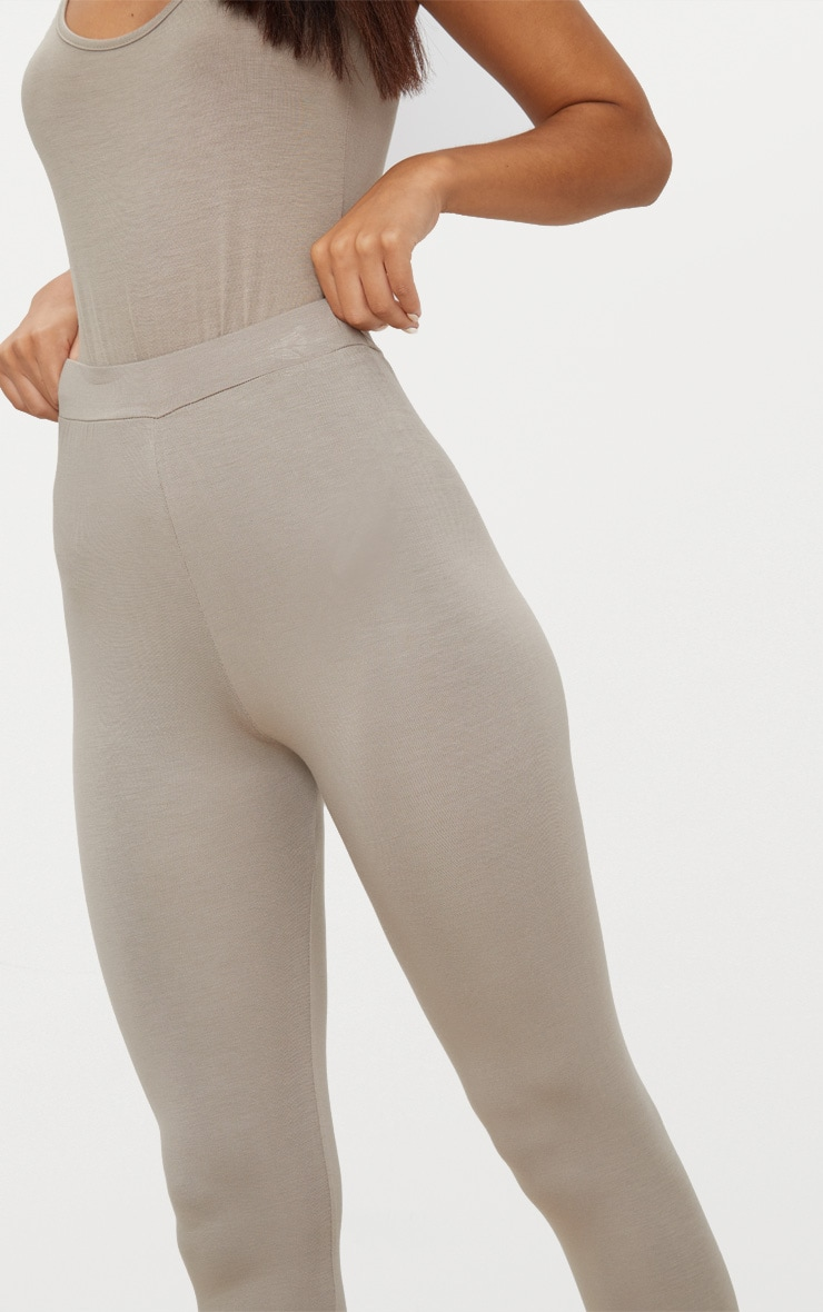 Taupe Basic Cropped Jersey Leggings  5