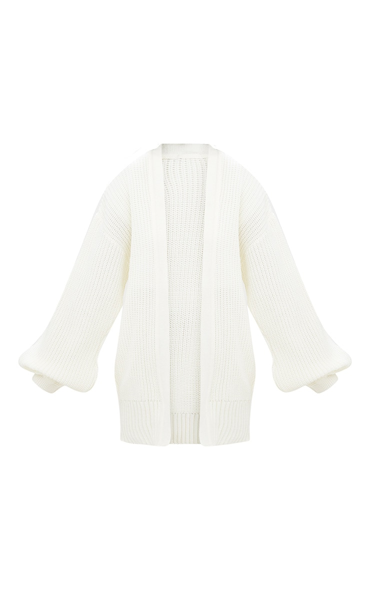 Cream Chunky Long line Knitted Cardigan 3