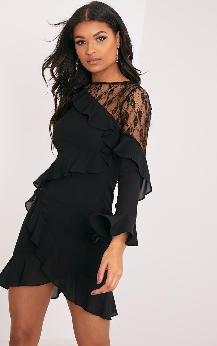 Mia Black Frill Detail Shift Dress 1