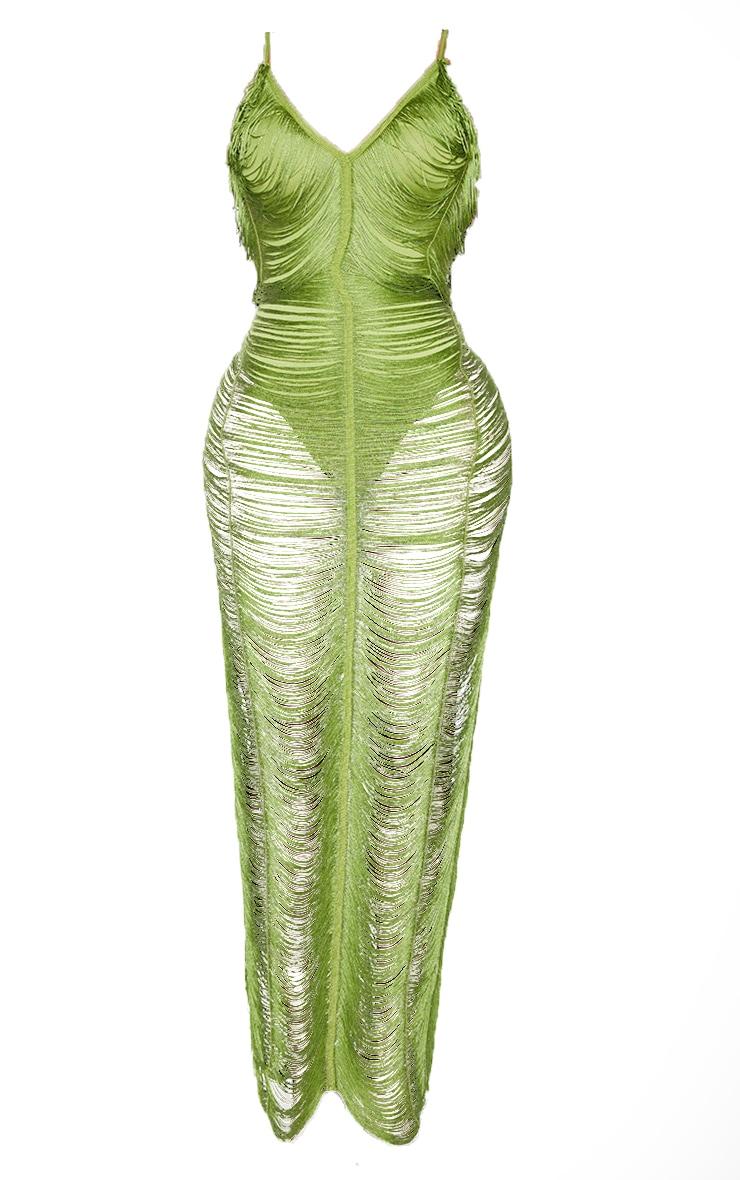 Shape Olive Fringe Detail Midaxi Dress 5