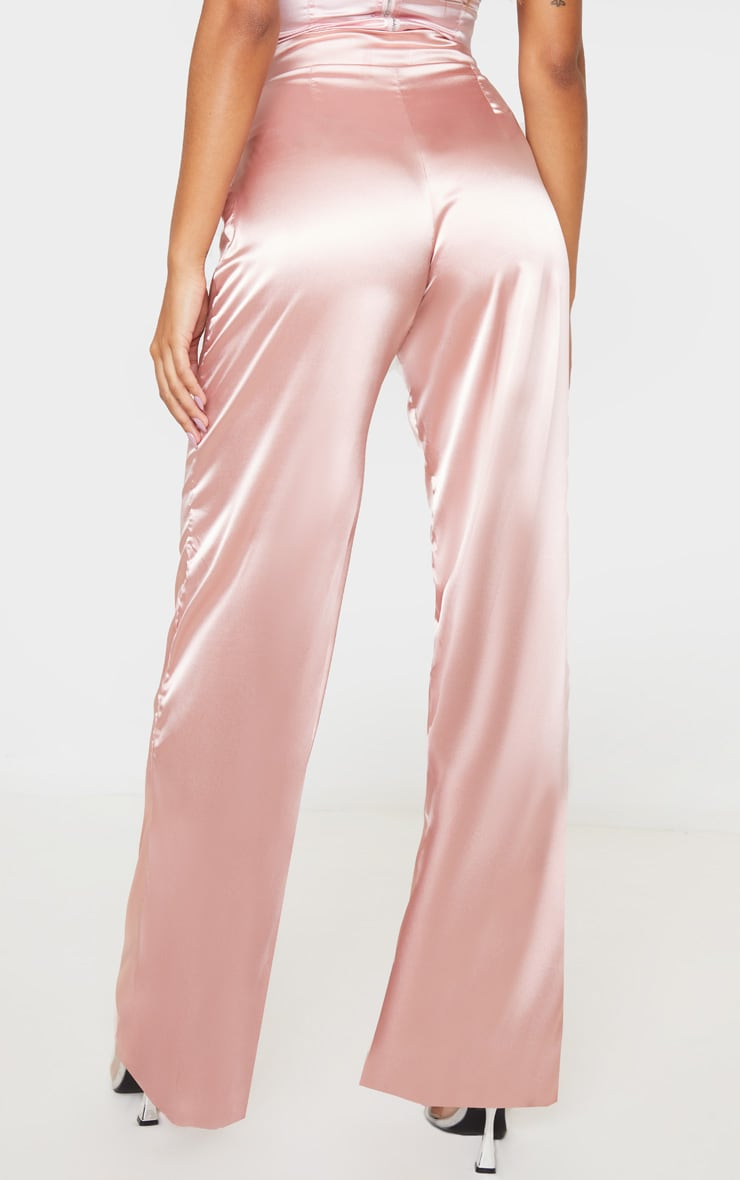 Blush Satin Wide Leg Pants 5