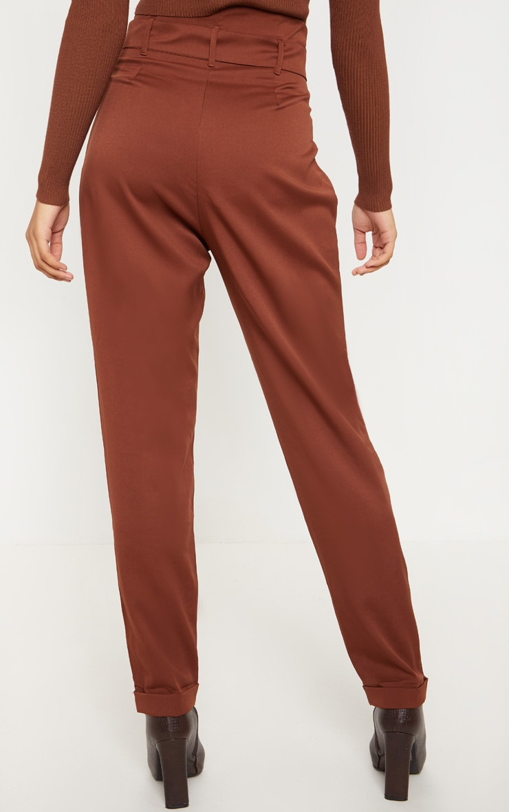 Tall Brown Belt Detail Straight Leg Pants 4