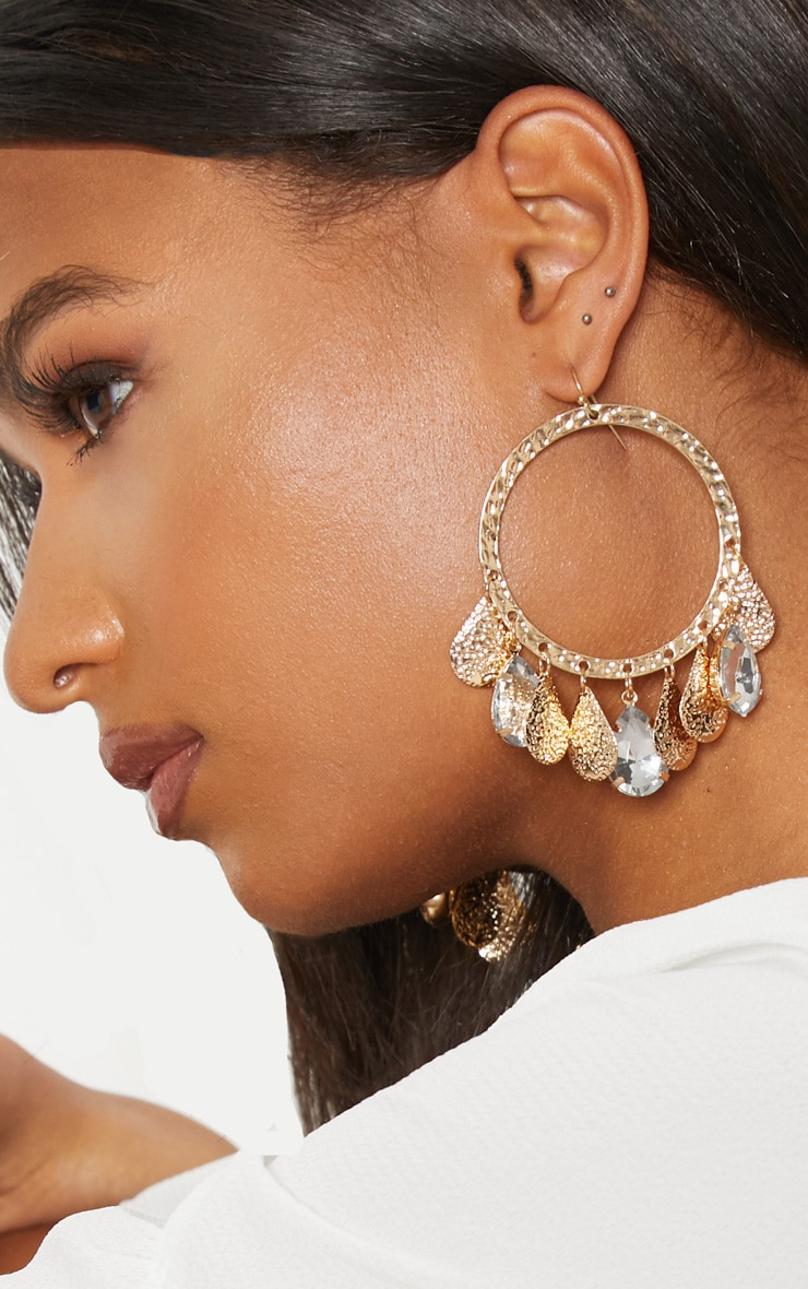 Gold Coin Diamante Hoop Earrings