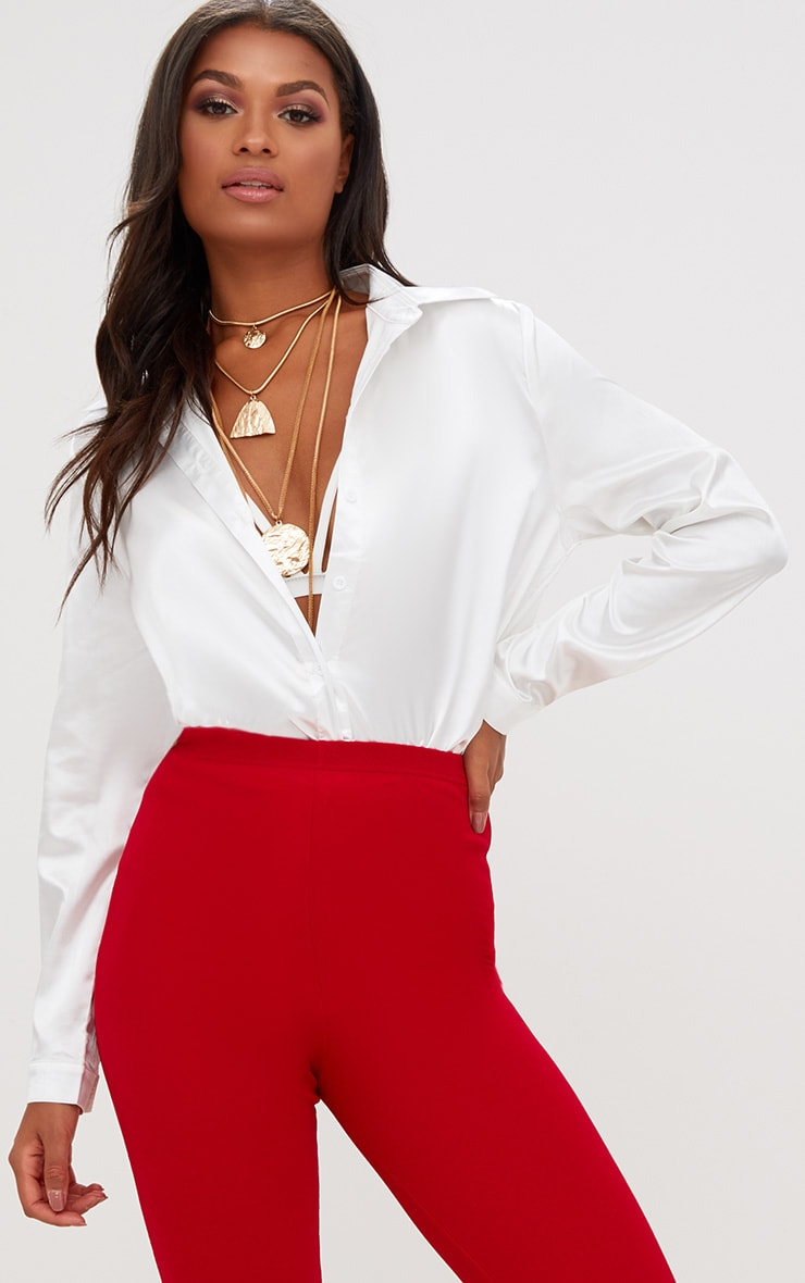 WHITE SATIN BUTTON FRONT SHIRT