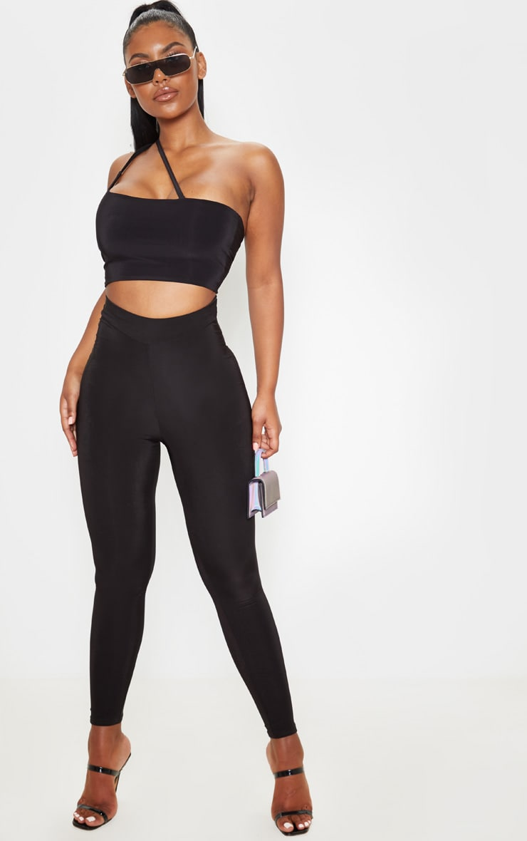 Black Slinky Asymmetric Strap Crop Top 4