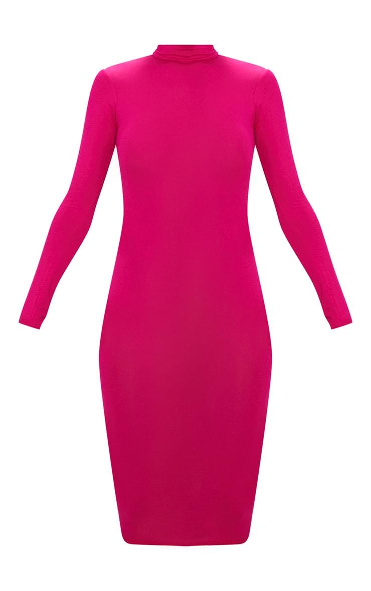 Basic Fuchsia Roll Neck Midi Dress 3