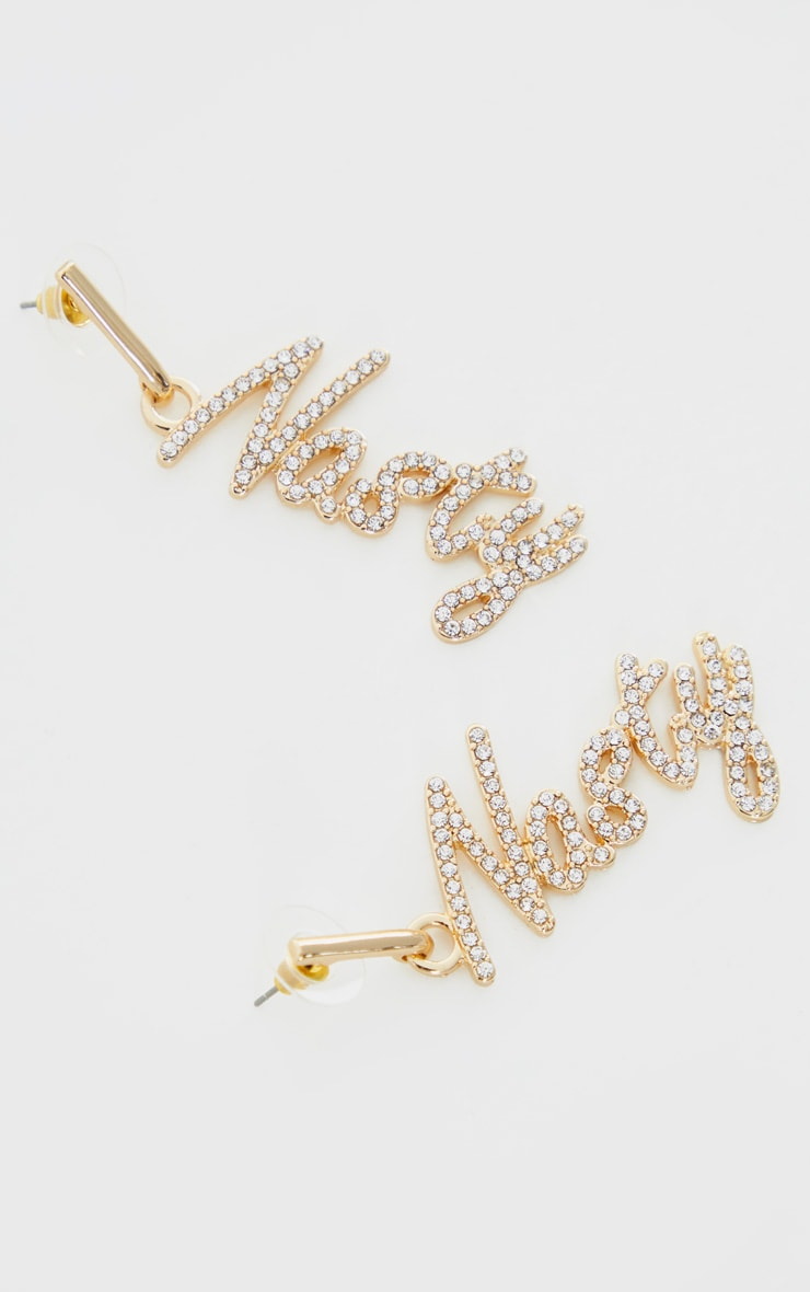 Gold Diamante Nasty Drop Earrings 4