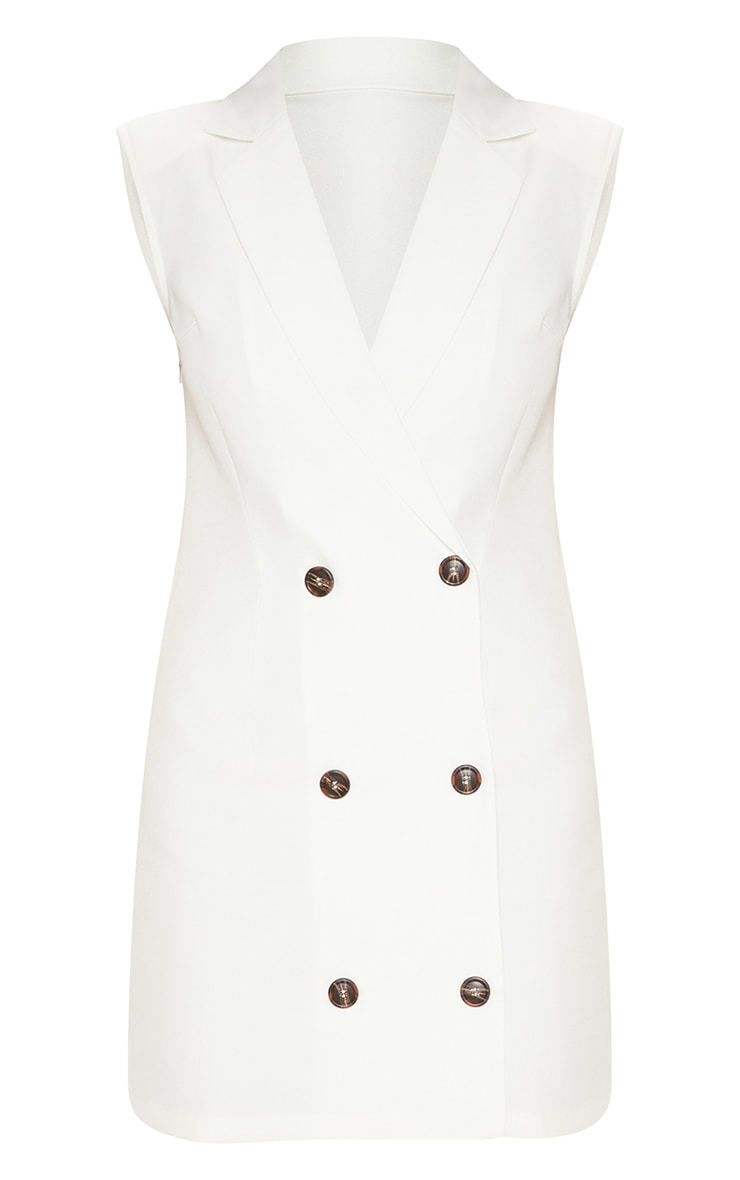 White Sleeveless Tortoise Button Detail Blazer Dress 3