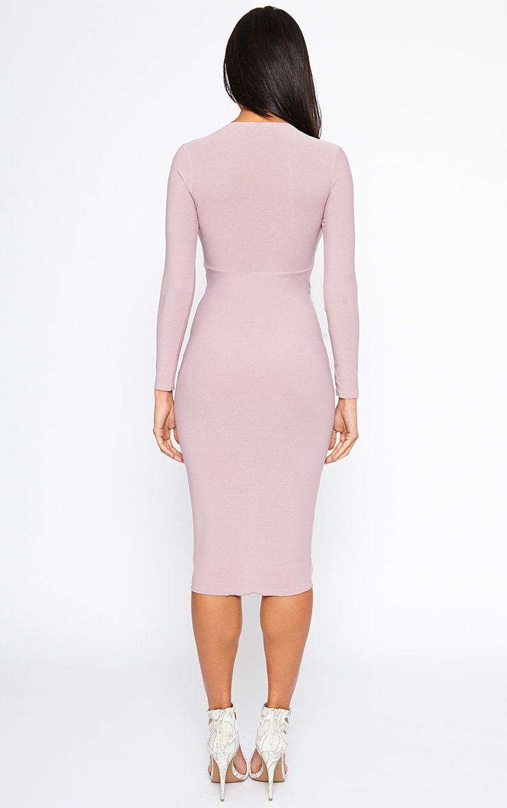 Zoey Mauve Ruched Midi Dress 2
