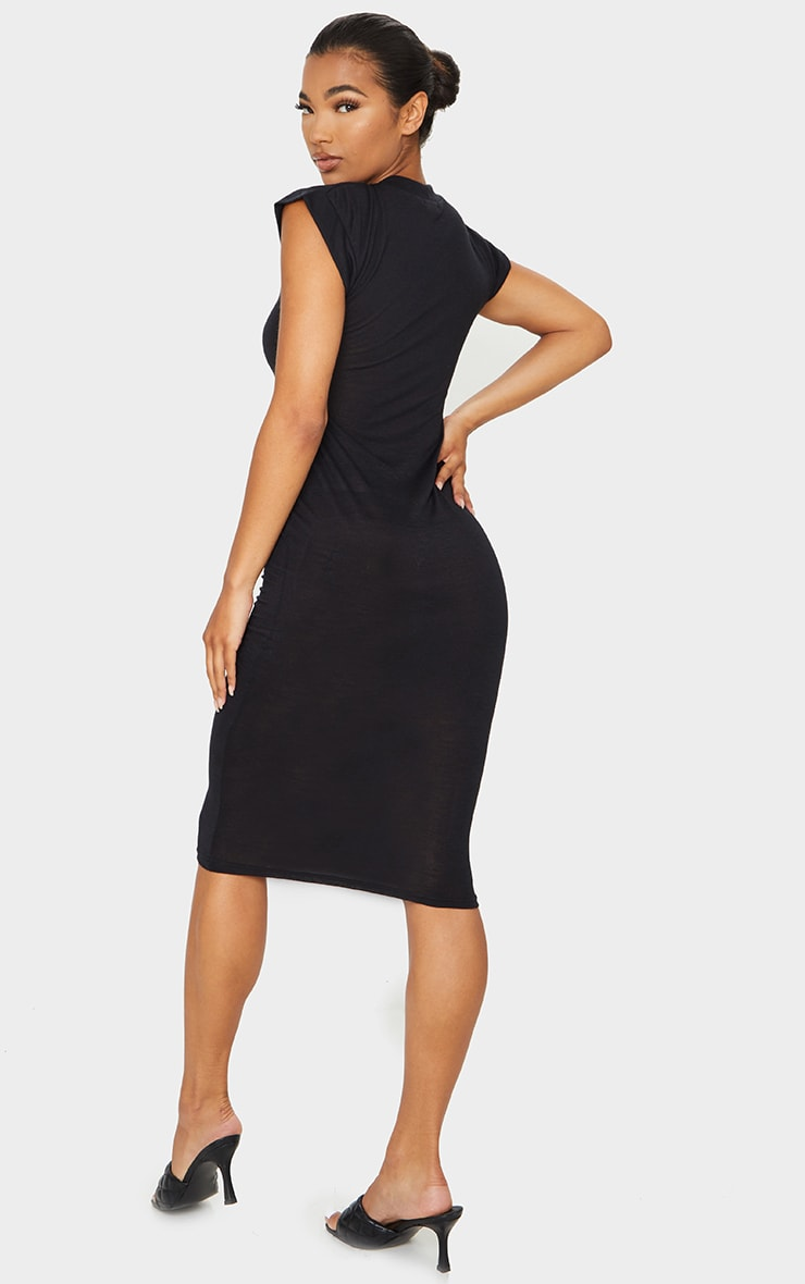 Black Sheer Cap Sleeve Midi Dress 2