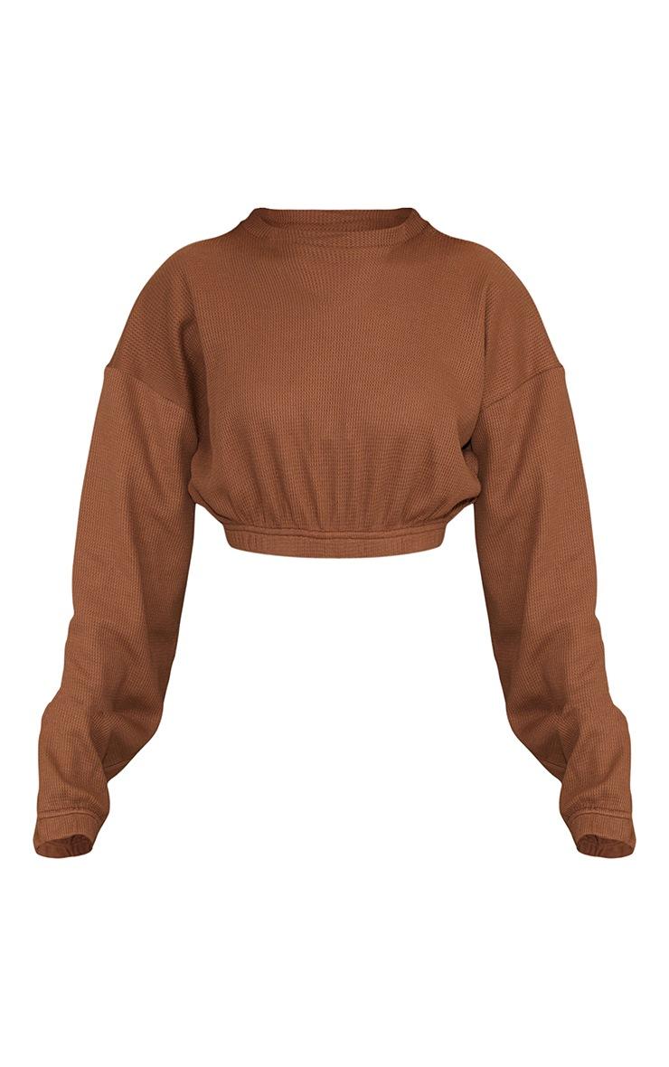 Brown Waffle Elastic Hem Cropped Sweater 5