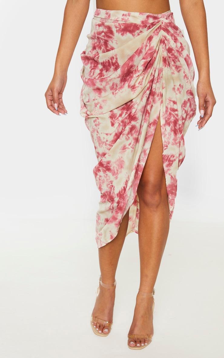 Fuschia Tie Dye Ruched Side Midi Skirt 2