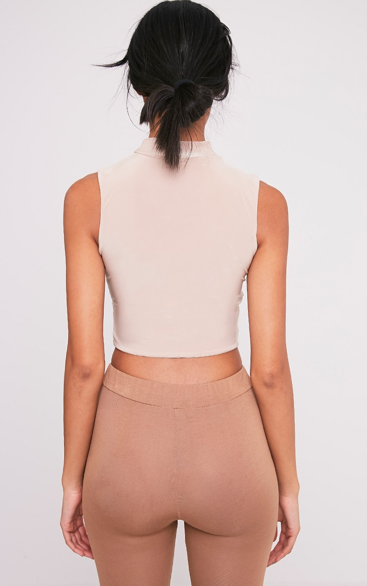 Melrose Nude Cut Out Neck Slinky Crop Top 2