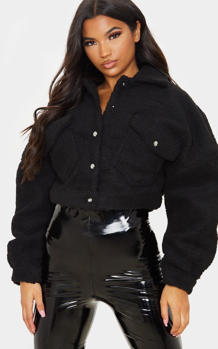 Black Borg Cropped Trucker Jacket 1