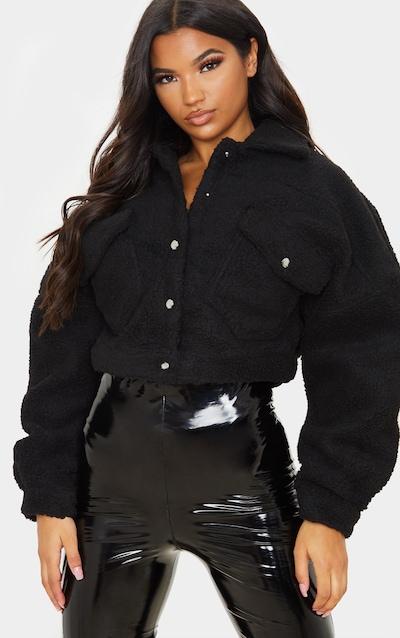 Black Borg Cropped Trucker Jacket