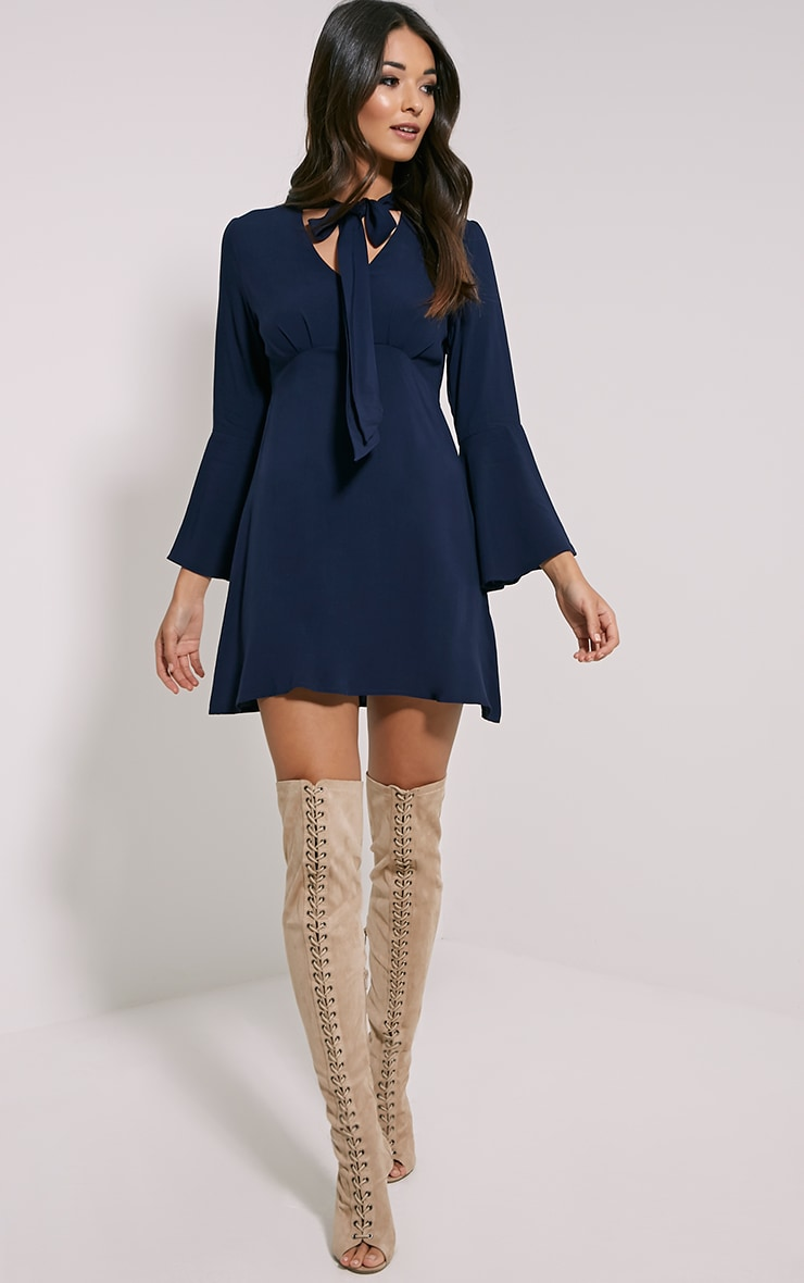 Cordelia Navy Pussy Bow Swing Dress 3