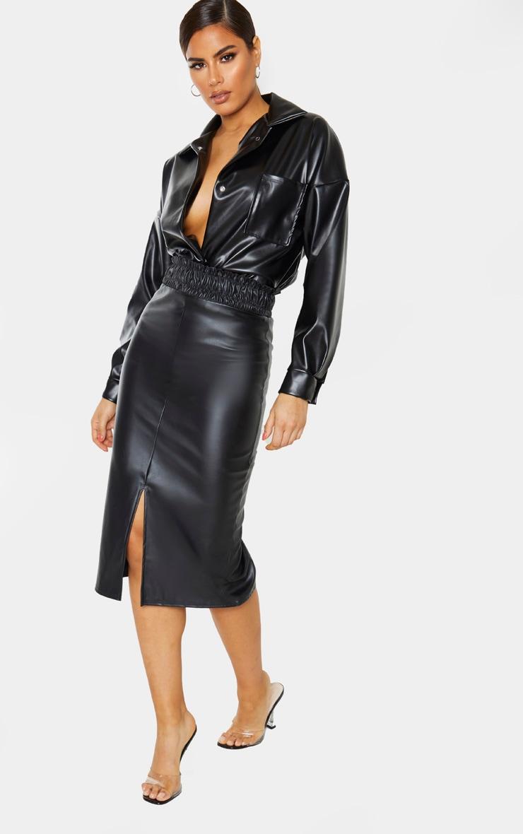 Tall Black Ruched Waist PU Midi Skirt 1