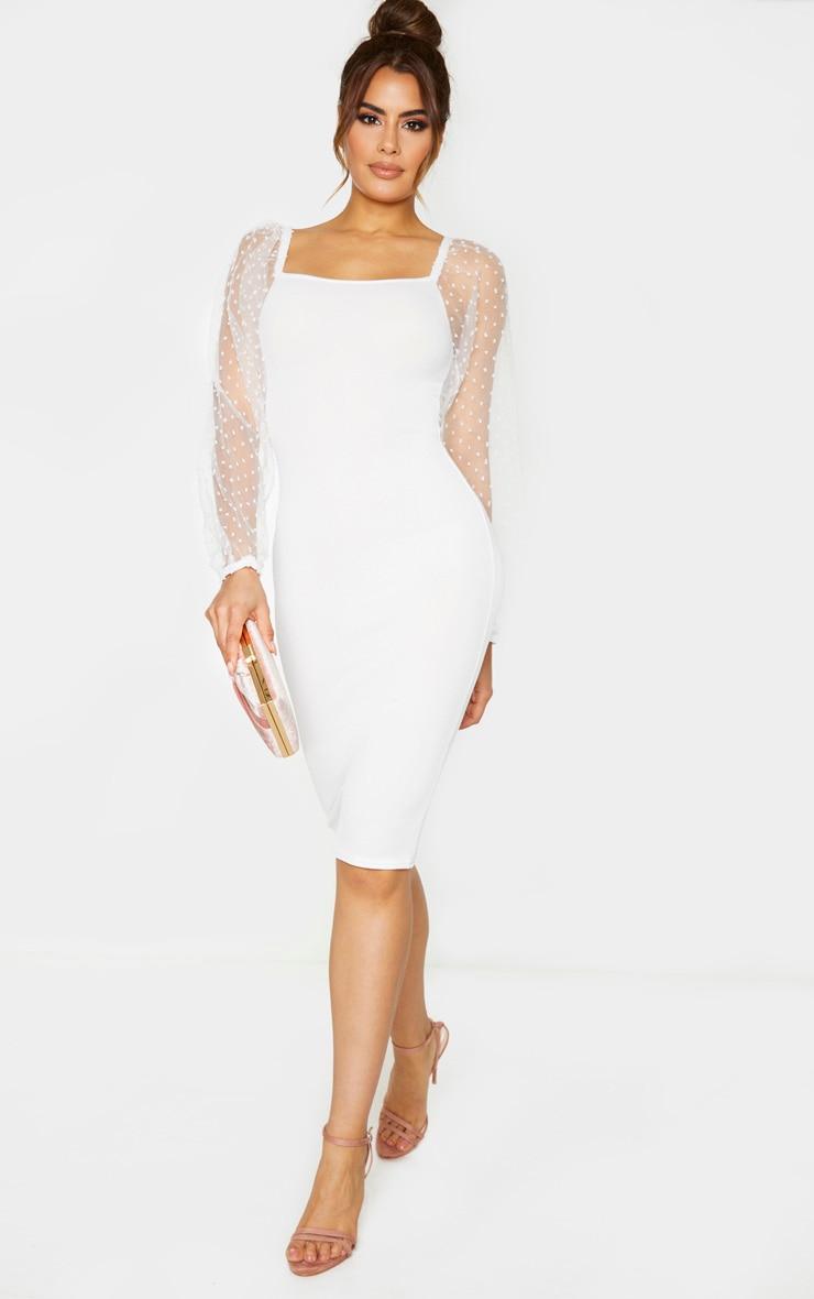 Tall White Polka Dot Organza Sleeve Midi Dress 1