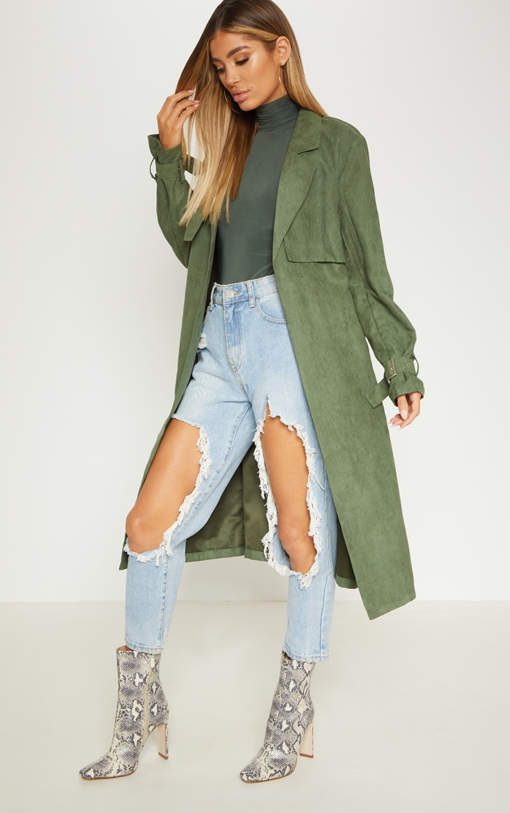 Khaki Faux Suede Trench