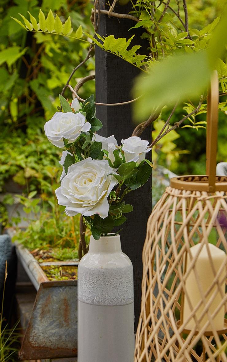 White Silk Garden Rose Artificial Flower 1