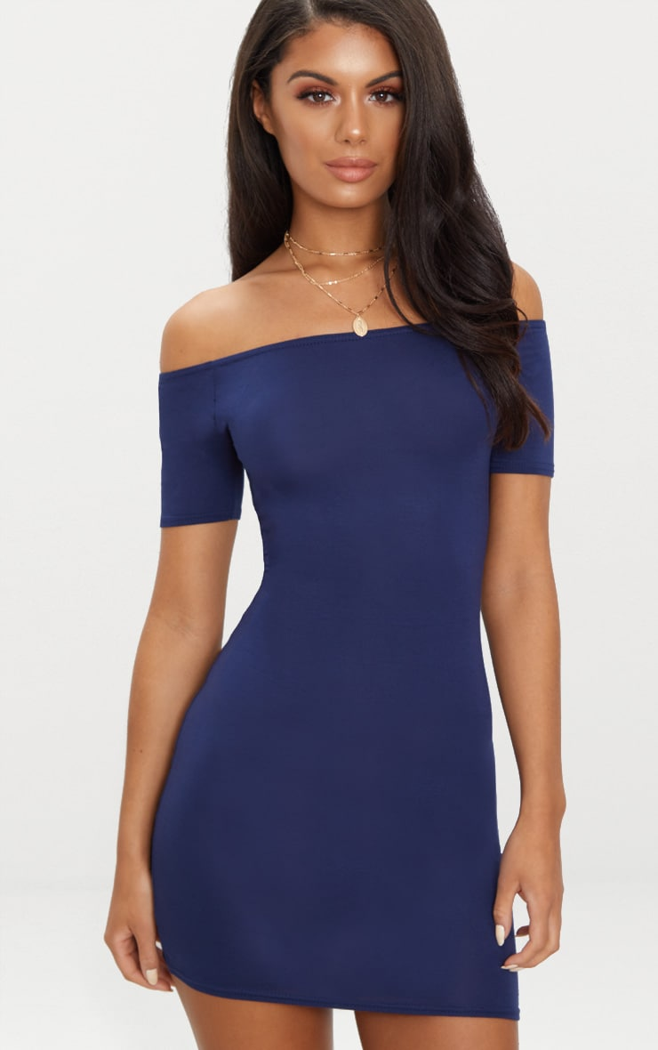 Basic Navy Short Sleeve Bardot Bodycon Dress 1