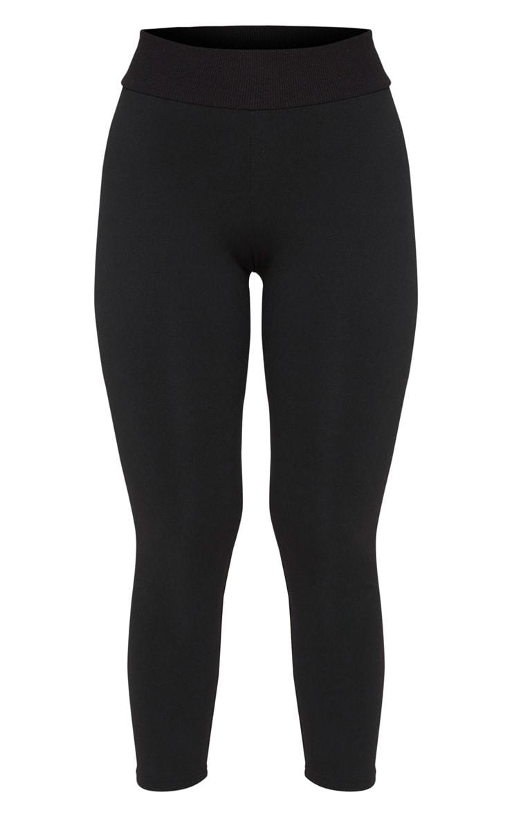Black Rib Waist Sport High Waist Cropped Legging 5