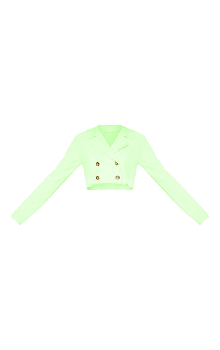 Neon Green Cropped Suit Blazer  3