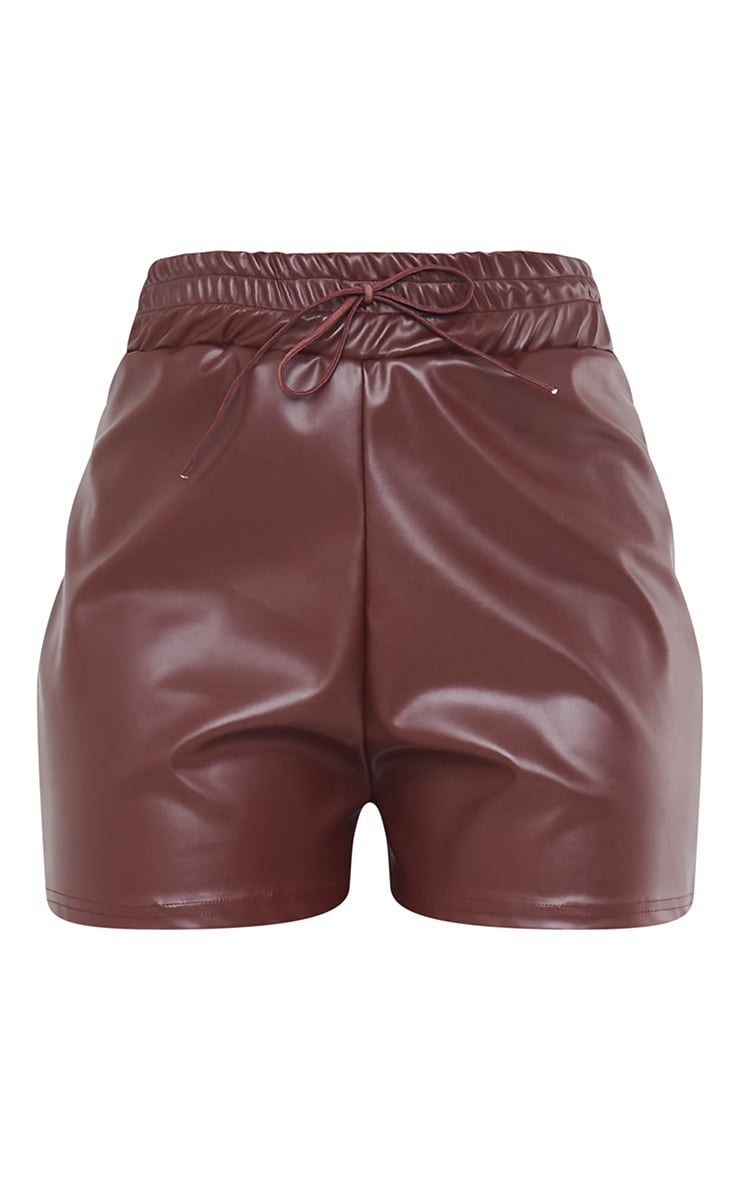 Chocolate Faux Leather Ruched Waist Band Short 6