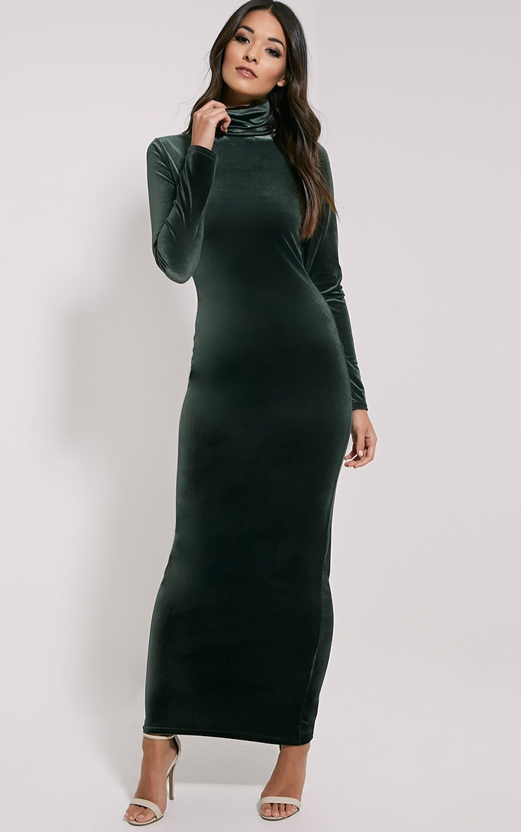 Cindy Khaki Turtle Neck Velvet Maxi Dress 3