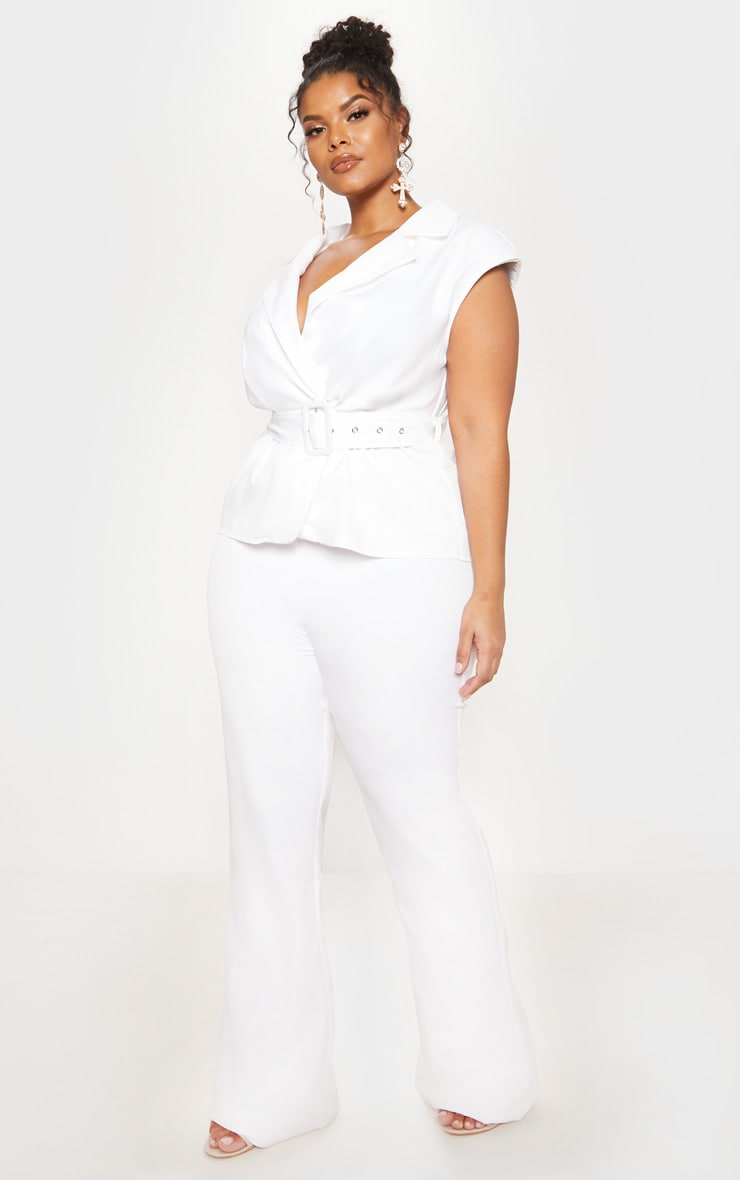 White Peplum Belt Detail Jumpsuit 5