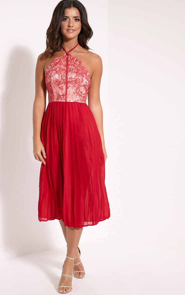 Cristabel Red Lace Halterneck Pleated Midi Dress 5