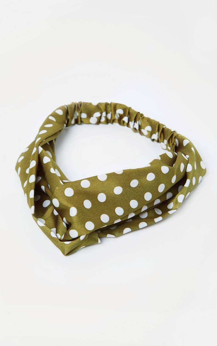 Green Polka Dotted Headband 2