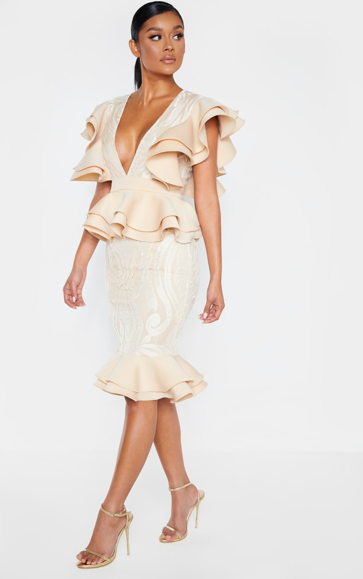 Nude Ruffle Detail Plunge Midi Dress 4