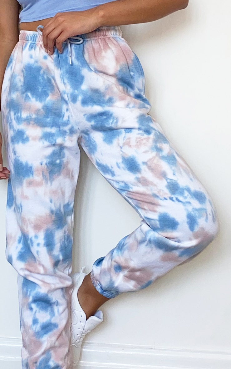 Dusty Blue Acid Wash Casual Joggers 4