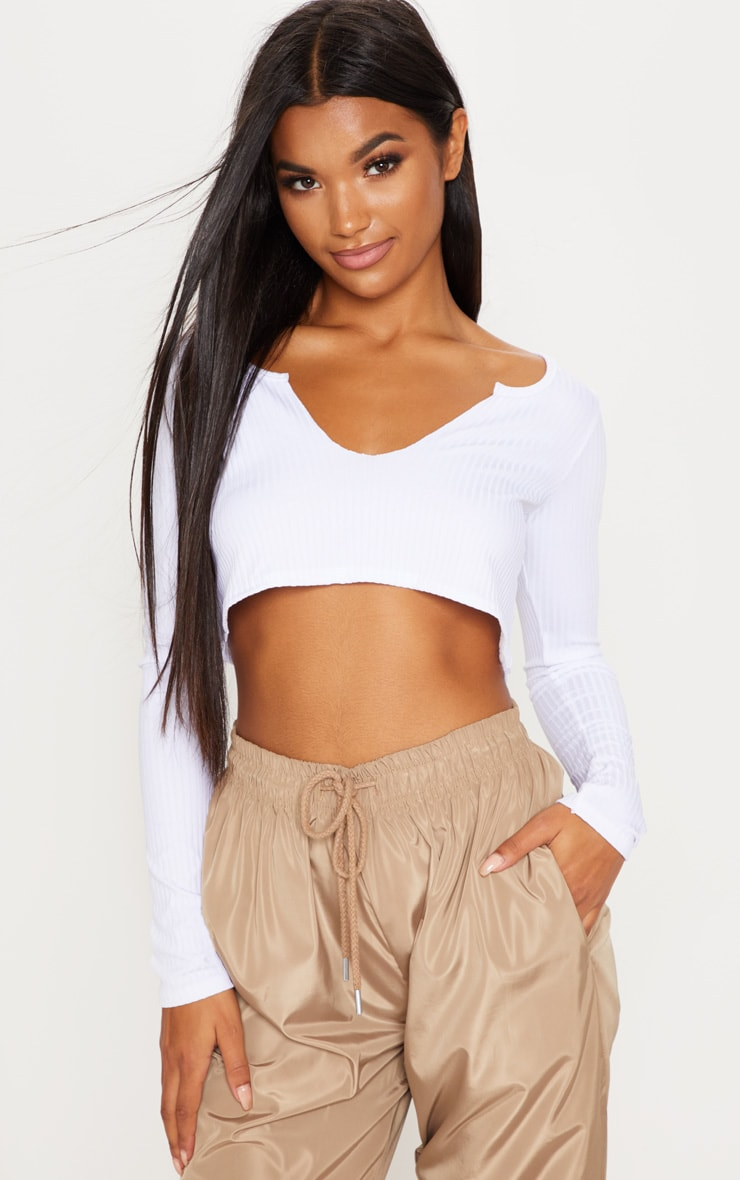 White Long Sleeve Rib Raw V Crop Top