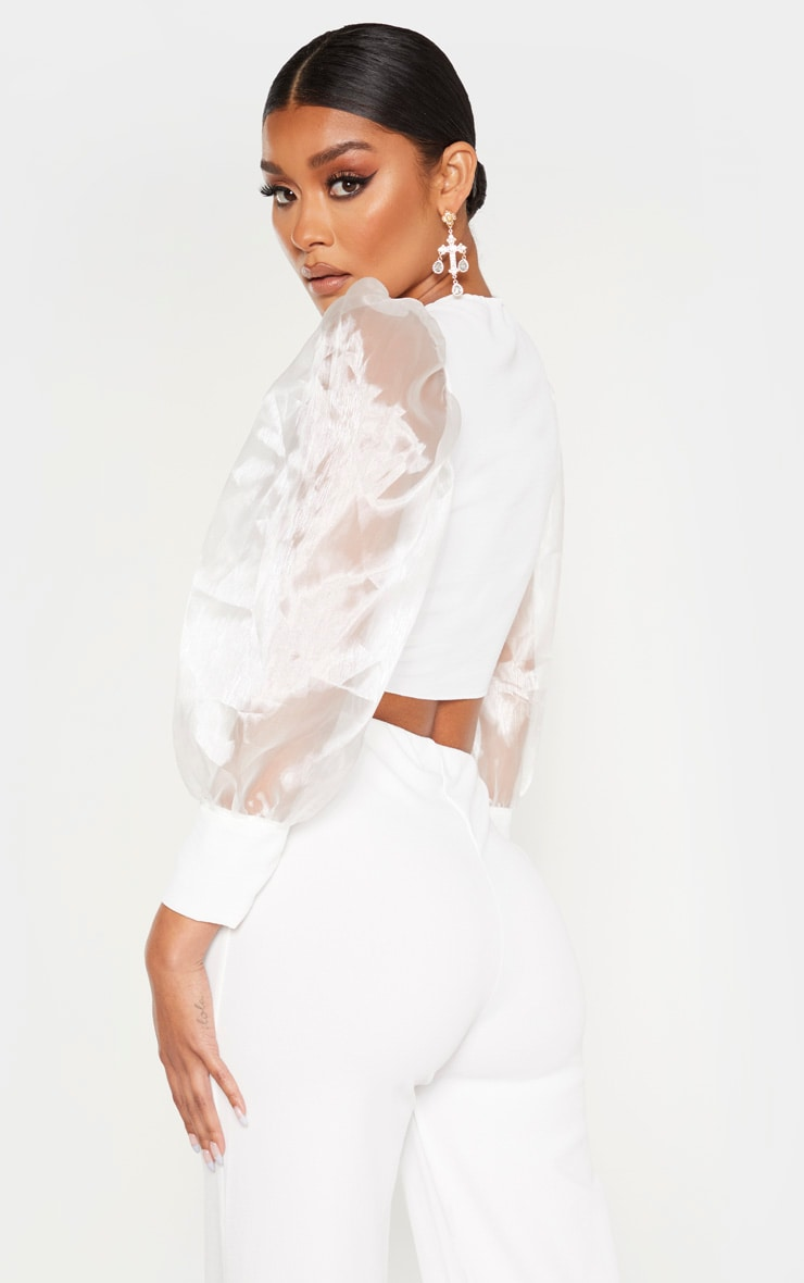 White Sheer Puff Sleeve Tie Front Shirt 2