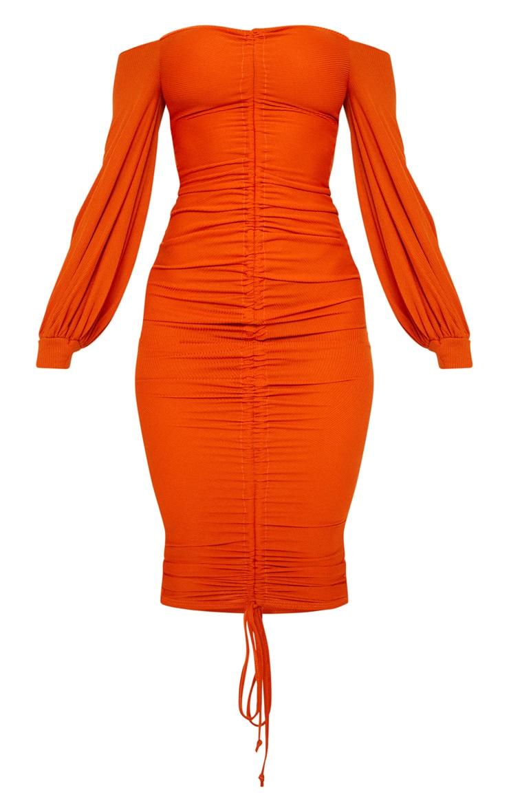 Burnt Orange Ribbed Balloon Sleeve Ruched Midi Dress 3