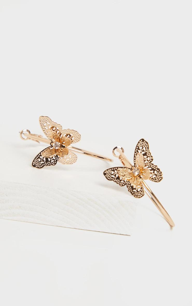 Gold Butterfly Hoop Earrings 3