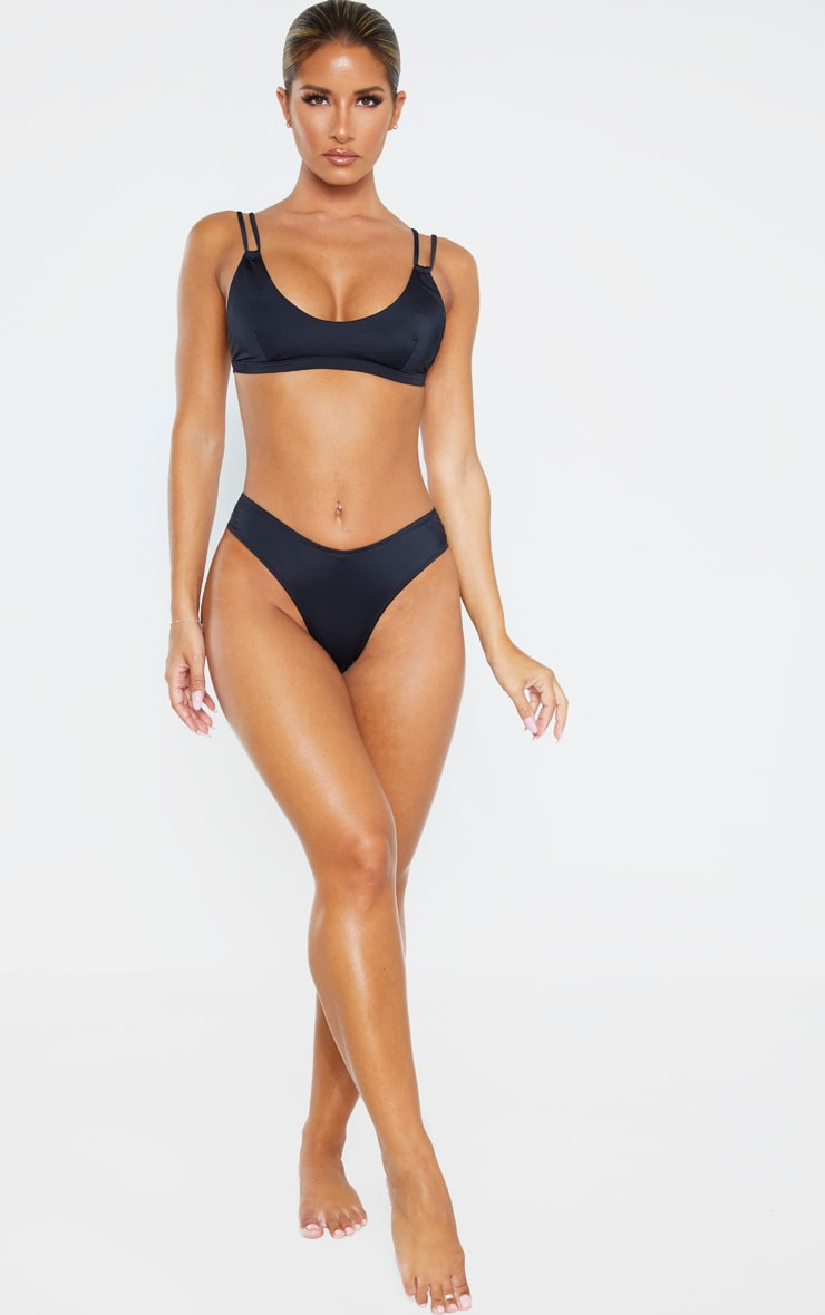 Black Recycled Fabric Mix & Match Double Strap Scoop Bikini Top 4