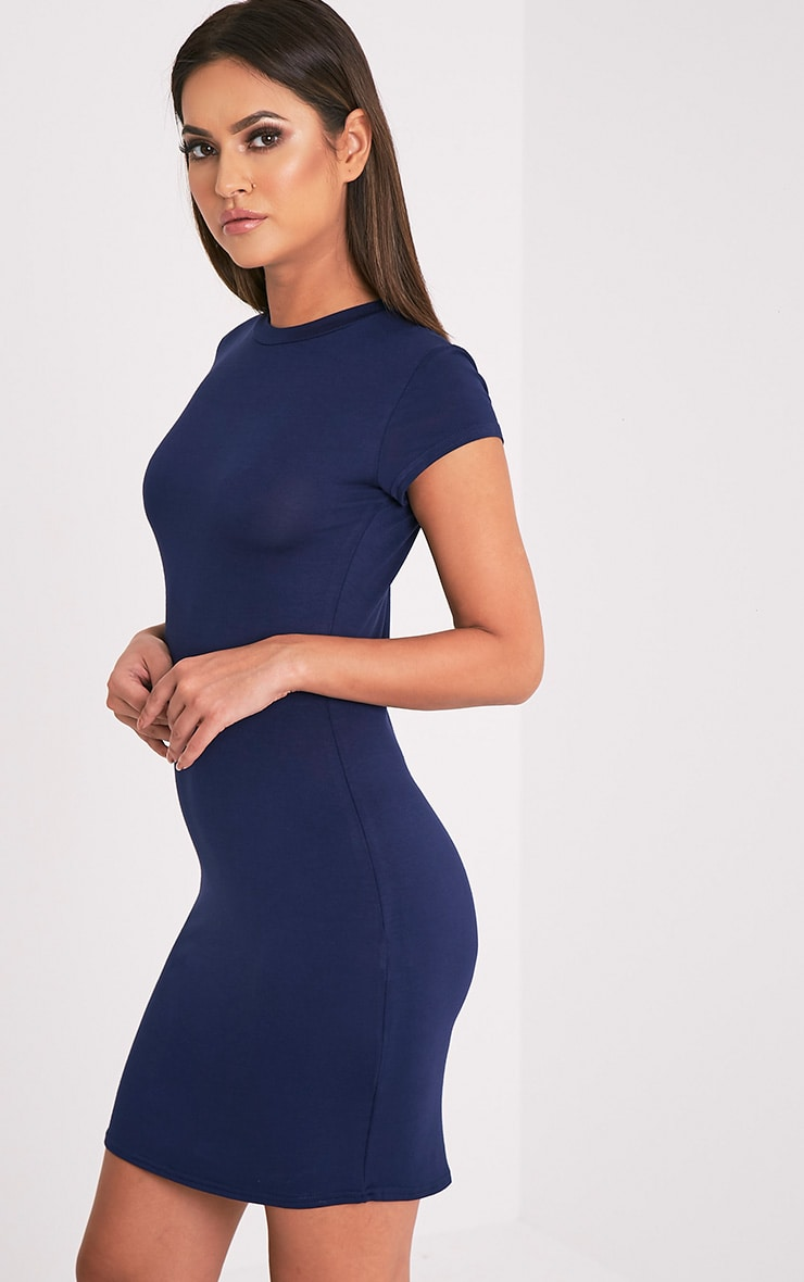 Tori Navy Short Sleeve Bodycon Dress 4
