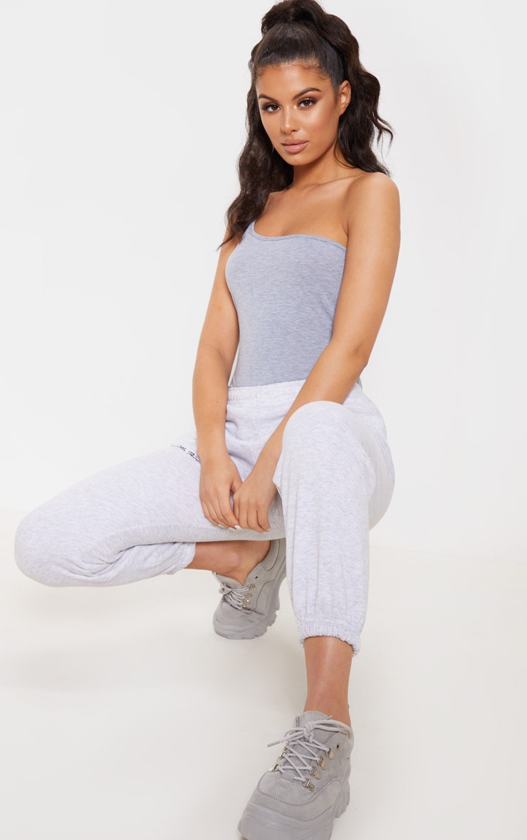 Grey Strappy One Shoulder Thong Bodysuit 4