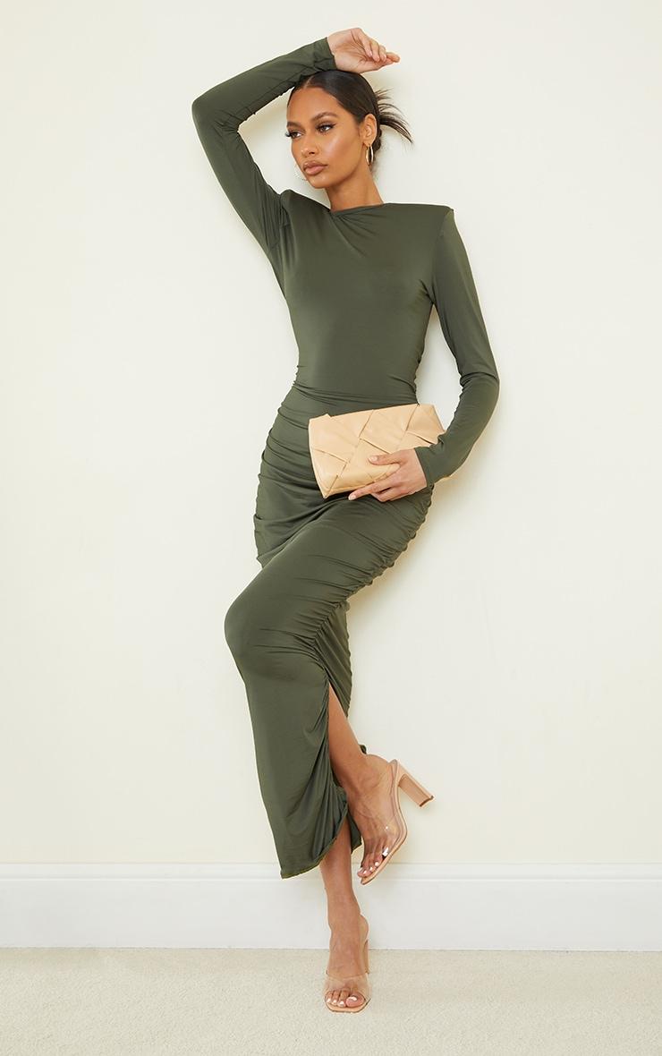 Khaki Slinky Shoulder Pad Ruched Long Sleeve Midaxi Dress 1