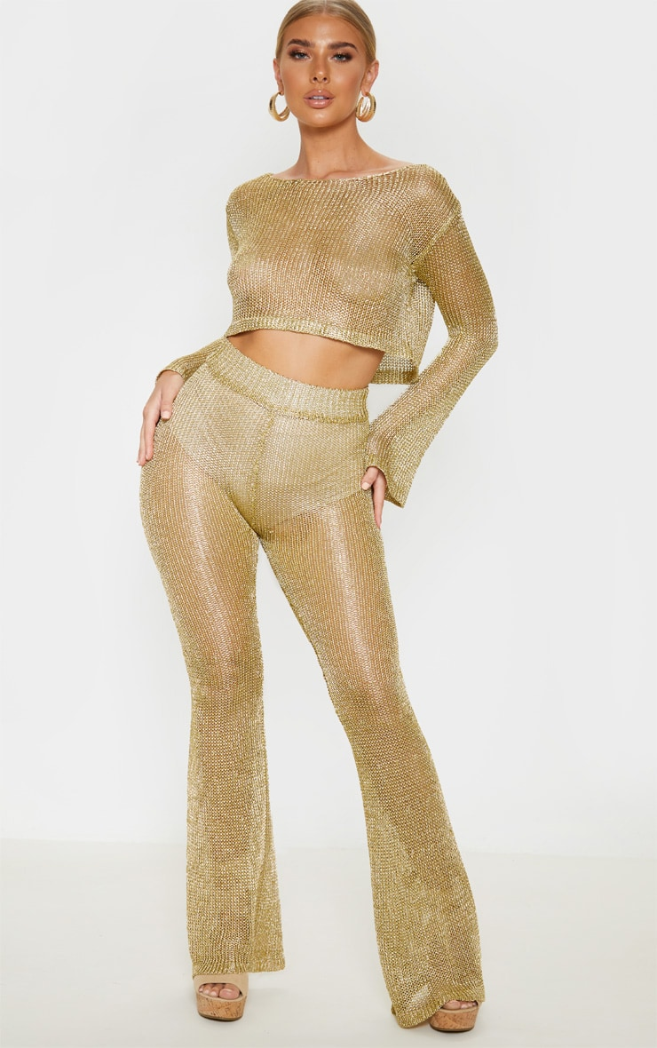 Gold Knit Beach Flares